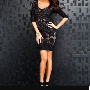 BEBE BLACK LACE DRAMA BODYCON MINI DRESS p/s